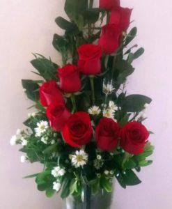 12 Rosas en Florero de Vidrio - Flores, Florería, Floristería
