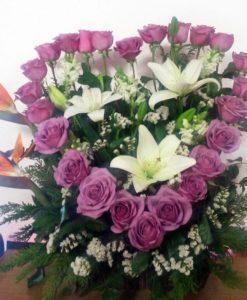 Corazón con 24 Rosas, Aves y Lilys - Flores, Florería, Floristería