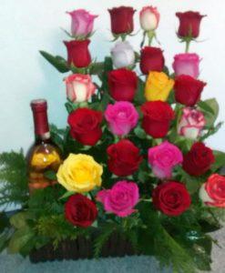 24 Rosas y Botella - Flores, Florería, Floristería