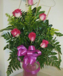 Rosas en Base de Vidrio - Flores, Florería, Floristería
