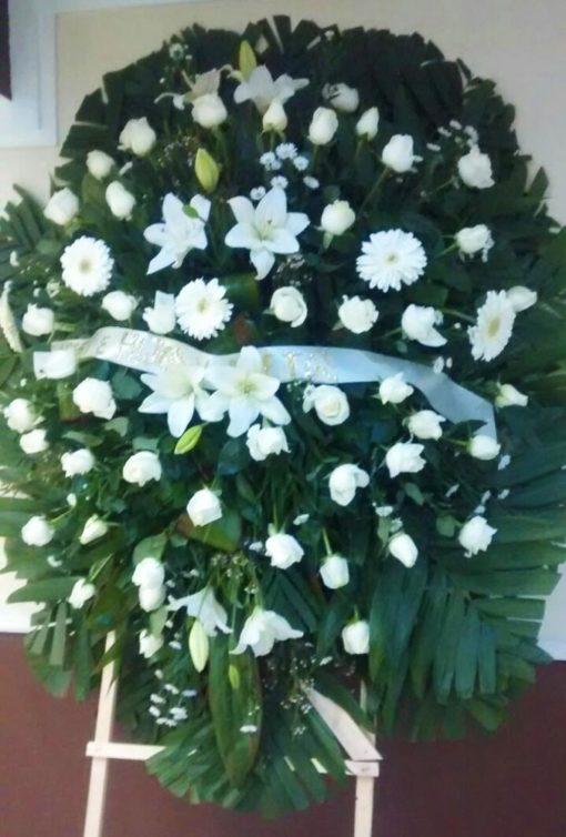 Corona Grande Blanca - Flores, Florería, Floristería