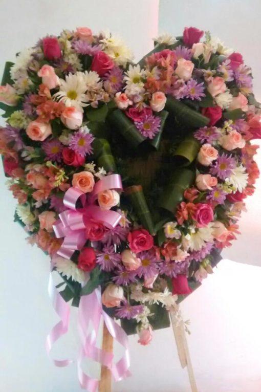 Corona Grande Rosa con Blanco - Flores, Florería, Floristería