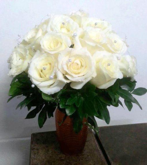 Ramo de Novia con Rosas y Perlitas - Flores, Florería, Floristería