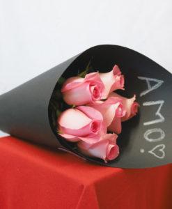 Bouquet de 6 Rosas en Negro - Flores, Florería, Floristería
