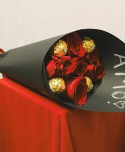 Bouquet de 6 Rosas con Chocolates en Negro - Flores, Florería, Floristería
