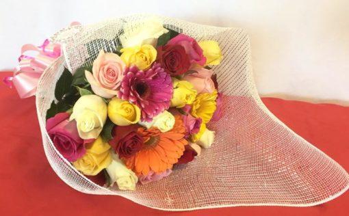 Bouquet Primaveral de 24 Rosas y Gerberas - Flores, Florería, Floristería