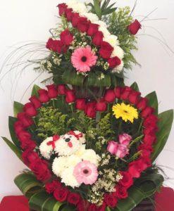 Corazón con Perrito - Flores, Florería, Floristería